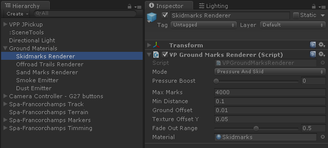 VP Ground Marks Renderer Inspector