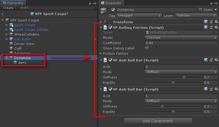 Dynamics add-on components